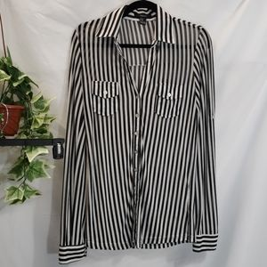 Forever 21 striped black and white sheer top